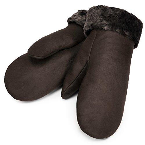 CHRIST Lammfell Fäustlinge warme, Lange Unisex Fausthandschuhe aus echtem Fell, Winter-Handschuhe für Damen und Herren in dunkel-braun, Größe 5