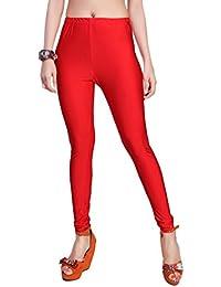 Comix Women Cotton Lycra Fabric Comfort Fit Ankle Length Plain Leggings (Red,XXXL)