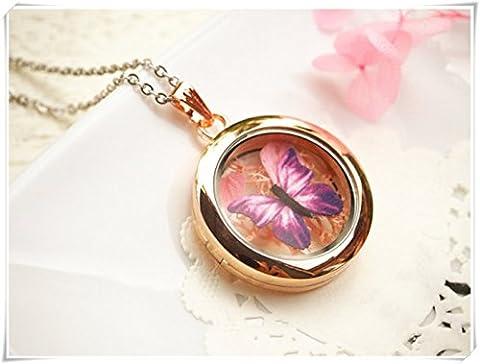 Papillon Médaillon Collier, collier de mousse, Real Fleur, collier Papillon Lover Collier, demoiselles d'honneur Cadeau, inspiré par la nature Collier