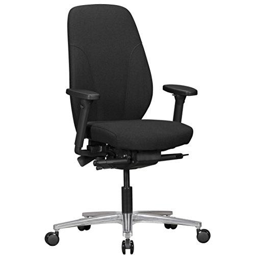 FineBuy Bürostuhl OSMO mit Stoff-Bezug in Schwarz   Design Schreibtisch-Stuhl mit Synchromechanik & verstellbaren Armlehnen   Drehstuhl Drehsessel ergonomisch 120 kg