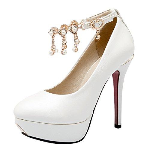 YE Damen Knöchelriemchen Stiletto High Heel Plateau Lack Leder Pumps mit Schnalle und Perlen Weiß