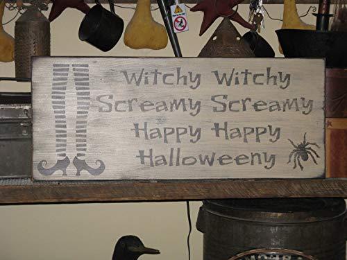 amy Happy Halloweeny Halloween Herbst Hexe und Spinne Primitive rustikales Landschaftsschild ()