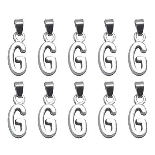 TENDYCOCO 20 stücke Legierung Englisch Brief G Anhänger Charme DIY Schmuck Machen Zubehör für Halskette Armband (Antik Silber)