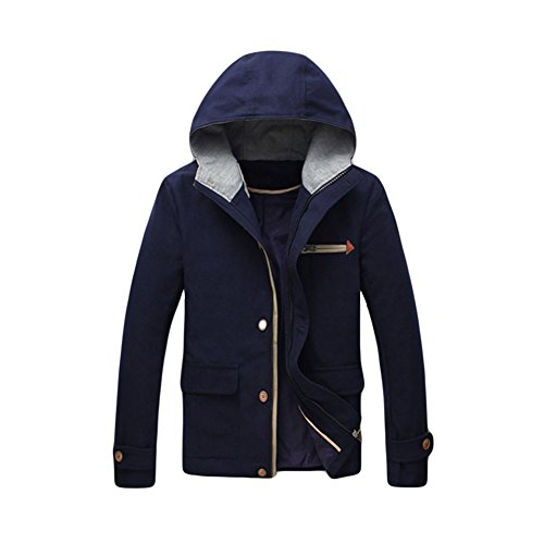 Haodasi Hooded Veste en laine Big Pockets Comfort Warm Coat Men doux Slim pur Tops Parka Navy