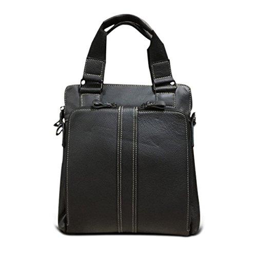 ADEMI Composite De Qualité Essential Mode Homme En Cuir D'affaires Sac Casual Sac Carré Noir,Black-M