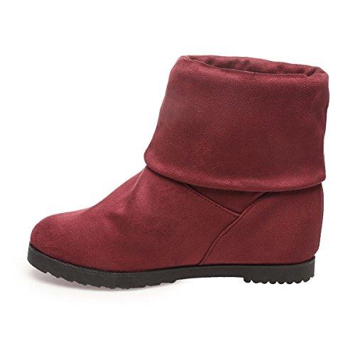 La Modeuse - Boots en simili daim Rouge