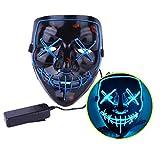 Ptsaying Halloween Led Maske und Handschuh, Led Purge Maske leuchten Maske gruseligsten Halloween-Maske für Erwachsene, Männer und Frauen.
