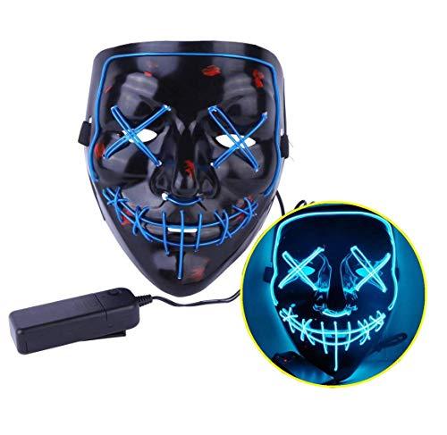 Ptsaying Halloween Led Maske und Handschuh, Led Purge Maske leuchten Maske gruseligsten Halloween-Maske für Erwachsene, Männer und Frauen. (Blau)