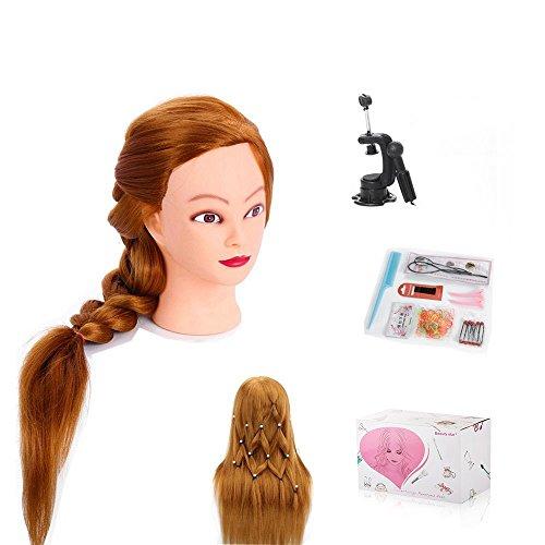 Beautystar 75 cm Tête à Coiffer Coiffure Tête Mannequin Mannequin de Formation de coiffure de cheveux synthétiques avec pince de support et cadeaux