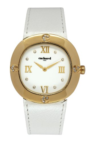 Cacharel CLD 1BB - 006/Women's Quartz Analogue Watch-White Face-White Leather Strap