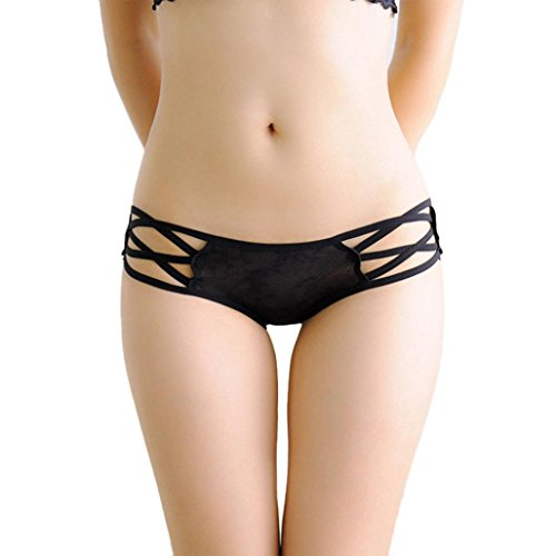 MEIbax Clearance frauen sexy spitzen - unterwäsche slips bikini - höschen - riemen höschen (freie Größe, Schwarz)