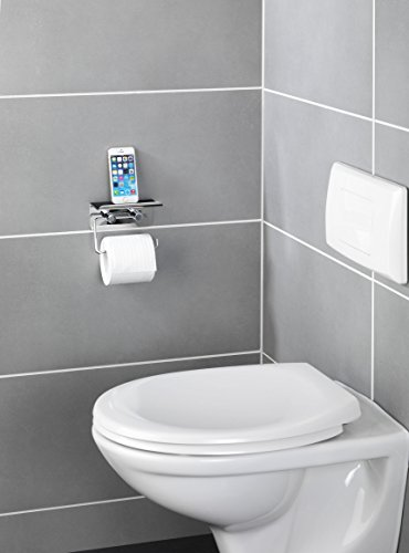 Wenko 21809100 Toilettenpapierhalter Mit Smartphone Ablage, Edelstahl  Rostfrei, 14 X 11,5