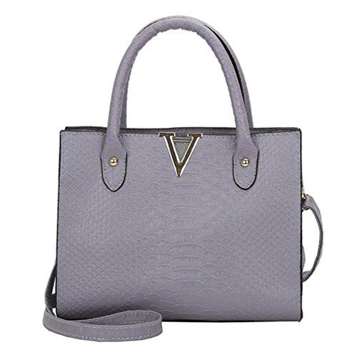 TUDUZ Handtasche Damen Umhängetasche Alligator Muster Schultertasche Crossbody PU Leder Tasche (Grau)