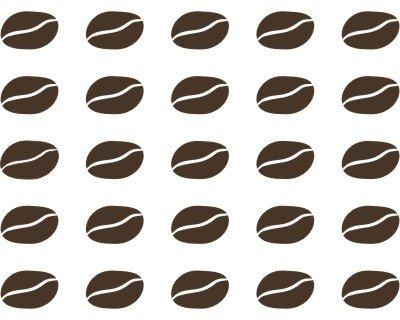 25 Wandtattoo Kaffeebohnen je 2,91x1,92cm braun