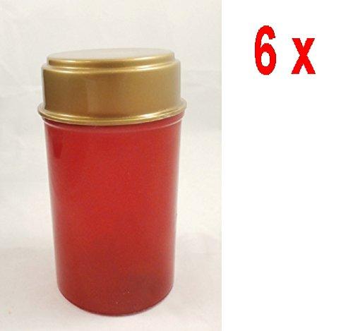 6x LED Grab Luz, Grab Vela–Funciona con pilas 12,5cm–rojo