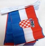 AZ FLAG FAHNENKETTE Kroatien 6 Meter mit 20 flaggen 21x14cm - KROATISCHE Girlande Flaggenkette 14 x 21 cm