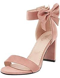 UH Mujer Sandalias Pajarita de Verano con Punta Abierta de Mujer Zapatos de Tacón Grueso Zapatos