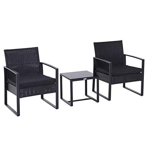 Outsunny Salon de Jardin 2 Places 3 pièces 2 chaises avec Coussins + Table Basse Plateau Verre trempé résine tressée 4 Fils Imitation rotin Noir