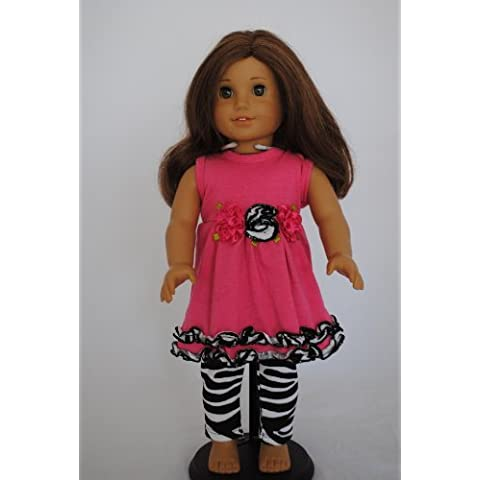 Unique Doll Clothing Two Piece Top and Leggings Set for American Girl Dolls and Most (Zebra Leggings Set)