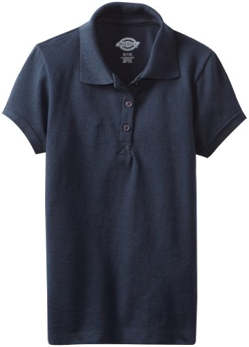 Dickies - - KS952 Mädchen Kurzarm Pique Polo Shirt, Small, Dark Navy (Ein Pique Polo Kind)