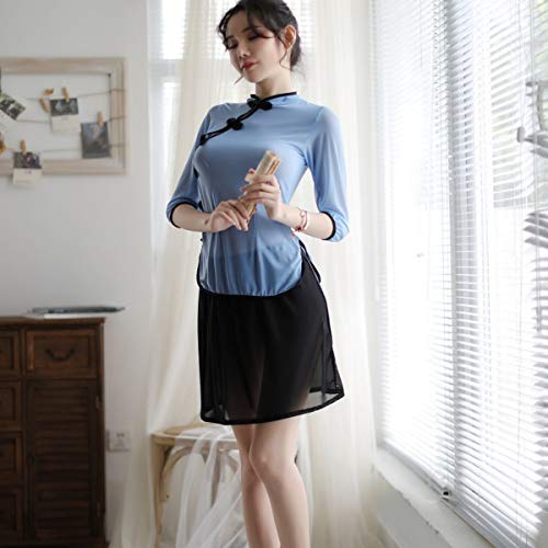 George zhang Sexy Dessous Frauen sehen durch Seitengabel Uniform in der Republik China Stil Studentenoutfit sexy Cheongsam Nachtschwärmer, ()