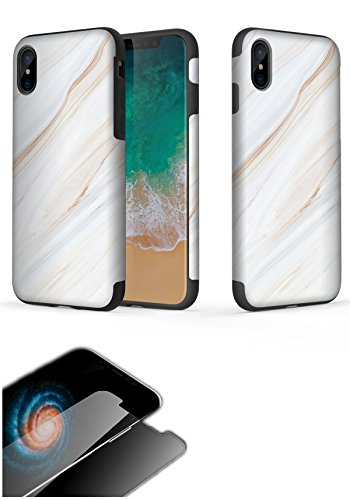 iPhone X Schutzhülle, Hybrid Schutz mit stoßfest und Drop Schutz, Origin Serie, Kit (Case + Screen Protector), WhiteMarble Kit Series Screen Protector Kit