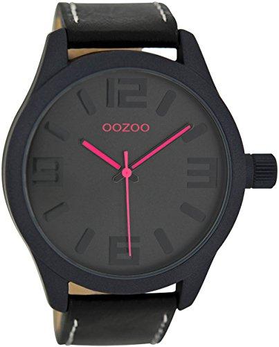 Oozoo Damenuhr mit Lederband 47 MM Schwarz/Schwarz/Pink C7119