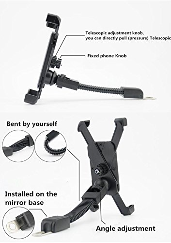 Motorcycle Mount, 360º Adjustable Motorcycle Phone Mount Garmin Gps Rotatable ATV Scooter Holder Moped Rearview Mirror Stand for iPhone 7 7Plus/6S/6/5S/4s/iPod/GPS/Samsung S7/S6/Edge etc