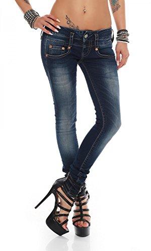 Herrlicher Damen Pitch Slim Jeans, Blau (Scrub 014), Keine Keine Angabe/L30 (Herstellergröße: 29)