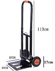 Carretilla manual de servicio pesado y plegable con 2 ruedas, barra de tracción telescópica de