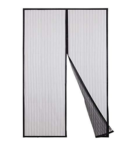 Sekey Zanzariera Magnetica per porta, anti insetti, per legno, ferro, porte in alluminio e balcone, Facile da installare, si Chiude da Sola, 240 x 140 cm, nero