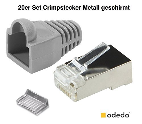 Crimp Rj-45-stecker (odedo® 20er Pack Crimpstecker grau CAT6 / 5e Metall geschirmt mit Einfädelhilfe und Knickschutz, Crimp Stecker Netzwerk Lankabel Netzwerkstecker RJ45 Kat6 Kat5e, Modular Plug grey shielded Connector with Insert)