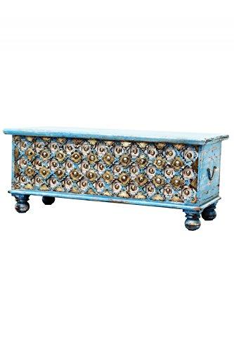Orientalische Truhe Kiste aus Holz Burhan - 2 - 116cm groß | Vintage Sitzbank mit Aufbewahrung für den Flur | Aufbewahrungsbox mit Deckel im Bad | Betttruhe als Kissenbox oder Deko im Schlafzimmer