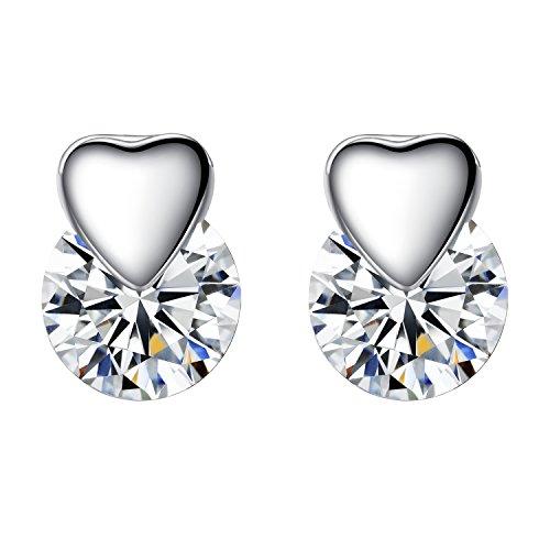Sterling Silber Swarovski Kristall-Liebes Herz-Bolzen-Ohrringe Herz-geformte Ohrstecker für Damen + Beutel + - Kristall-herz-bolzen-ohrringe