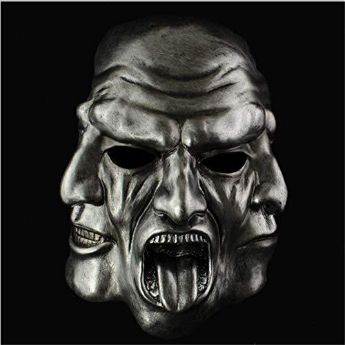 TTXLY Halloween Mask Dance Party Hochwertige Harzmaske DREI-Gesichtsmaske Ghost Masks Dress Up Kopfbedeckung Maske Kostüm Kostümfest Requisiten Lieferungen,Silver (Silver Ghost Kostüm)