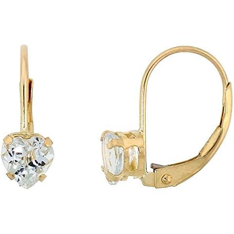 Revoni-Bracciale in oro giallo 9 k, con acquamarina naturale, e orecchini a forma di cuore con pietra portafortuna