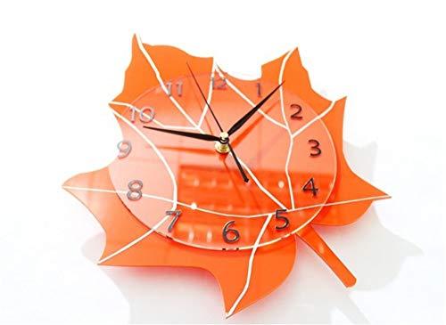 Pmrioe Dicke Blätter, Natur, Garten, Hängende Uhren, Mode, Kreative Uhrenkunst, Wohnzimmer, Schlafzimmer, Stummschaltung