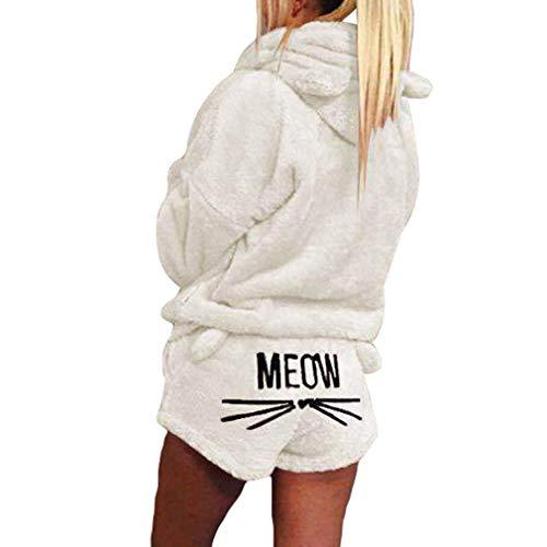 Minetom Herbst Winter Pyjamas Damen Mädchen Zweiteiler Ensembles de Pyjama Warm Coral Fleece Samt Nachtwäsche Süße Katze Kitty Kapuzenpullover Hoodies und Shorts Weiß DE 38 -