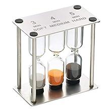 MasterClass Kitchen Craft Triple Sand Timer, Stainless Steel, Silver, 9 x 12 x 16 cm