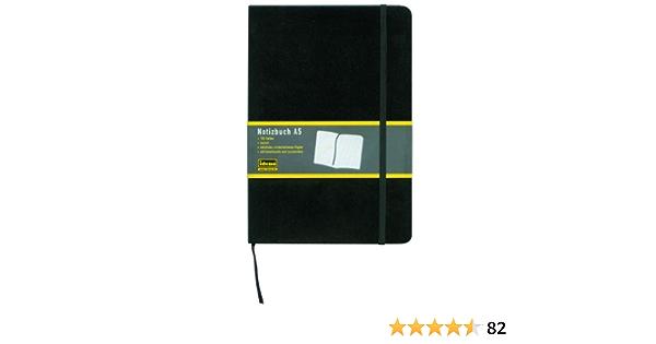 10 Schwarzes Notizbuch kariert DIN A5 Büro Schule Notizen 180S.
