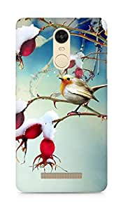 AMEZ Winter Snowy Cotton Branch Bird Scene Back Cover For Xiaomi Redmi Note 3