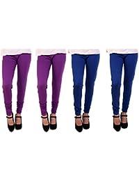 Anekaant Cotton Lycra Women's Churidar Legging Pack of 4