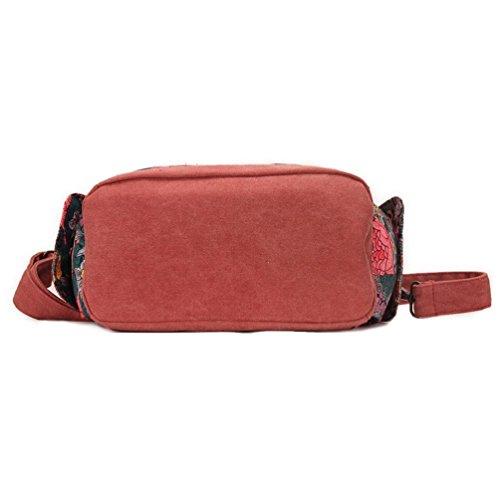 Chang Spent Frauen Retro-Tasche Handtasche Schultertasche Leinwand Bote Red