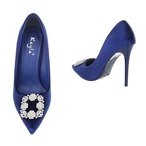 Ital-design Tacco Alto Pompe Scarpe Da Donna Tacco Alto Pompe Penny / Tacco A Spillo Tacco Alto Pompe Blu Af31