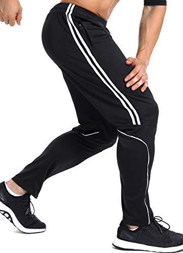 INSTINNCT Herren Lange Trainingshose Sport Jogging Hose Sweatpants mit Reißverschlusstasche Streifen (Weiß) L