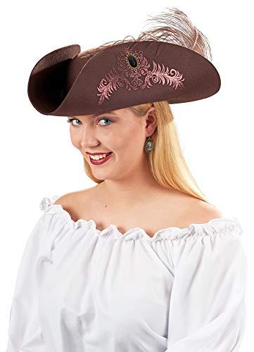 Andrea-Moden Ladyhut zum Piraten Musketier Girl Kostüm - Braun / Rosa - Hochwertiger Wollfilz Hut Florale Glitzer Ranken Damen Accessoire Piraten Seeräuber Kostüm