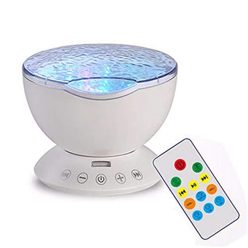 Rziioo Fernbedienung Ocean Wave Projektor 12 LED & 7 Farben Nachtlicht mit eingebautem Mini Music Player,White (H1 Led-projektor-lampe)