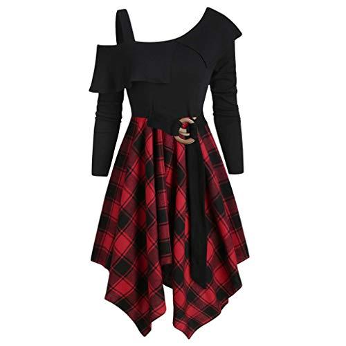 SHINEHUA Damen 50s Vintage Rockabilly Kleid Langarm Schulterfrei Unregelmässig Plaidkleid Frauen...