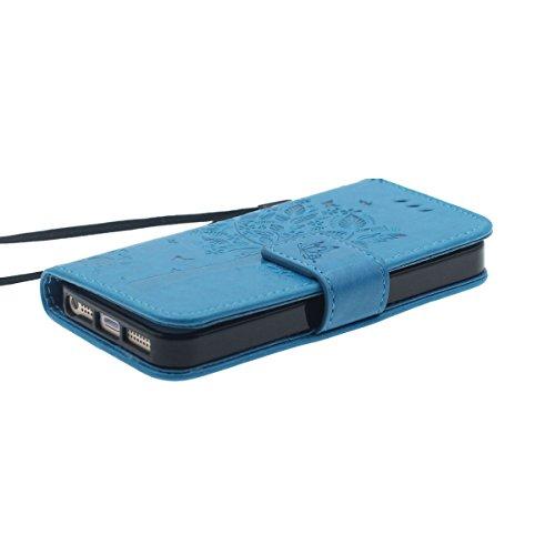 Custodia Apple iPhone 5 5S 5G, iPhone SE Case Portafoglio Carta Titolare Design Pelle Cover protettiva Pure Color Albero Modello Serie Elegante Aspetto Blu