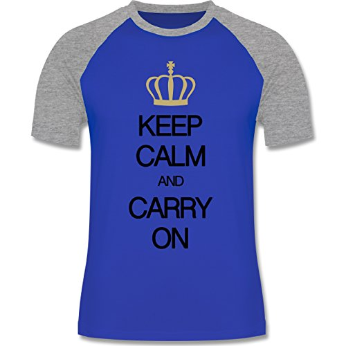 Keep calm - Keep calm and carry on - zweifarbiges Baseballshirt für Männer Royalblau/Grau meliert